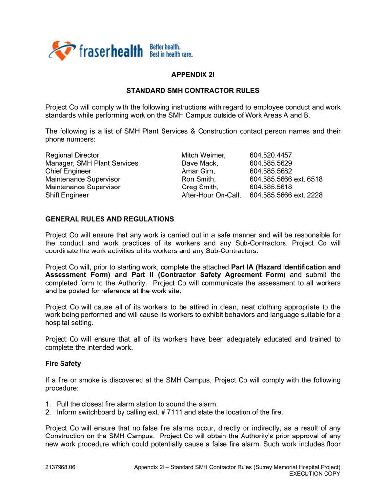Appendix 2i Standard Smh Contractor Rules Manualzz