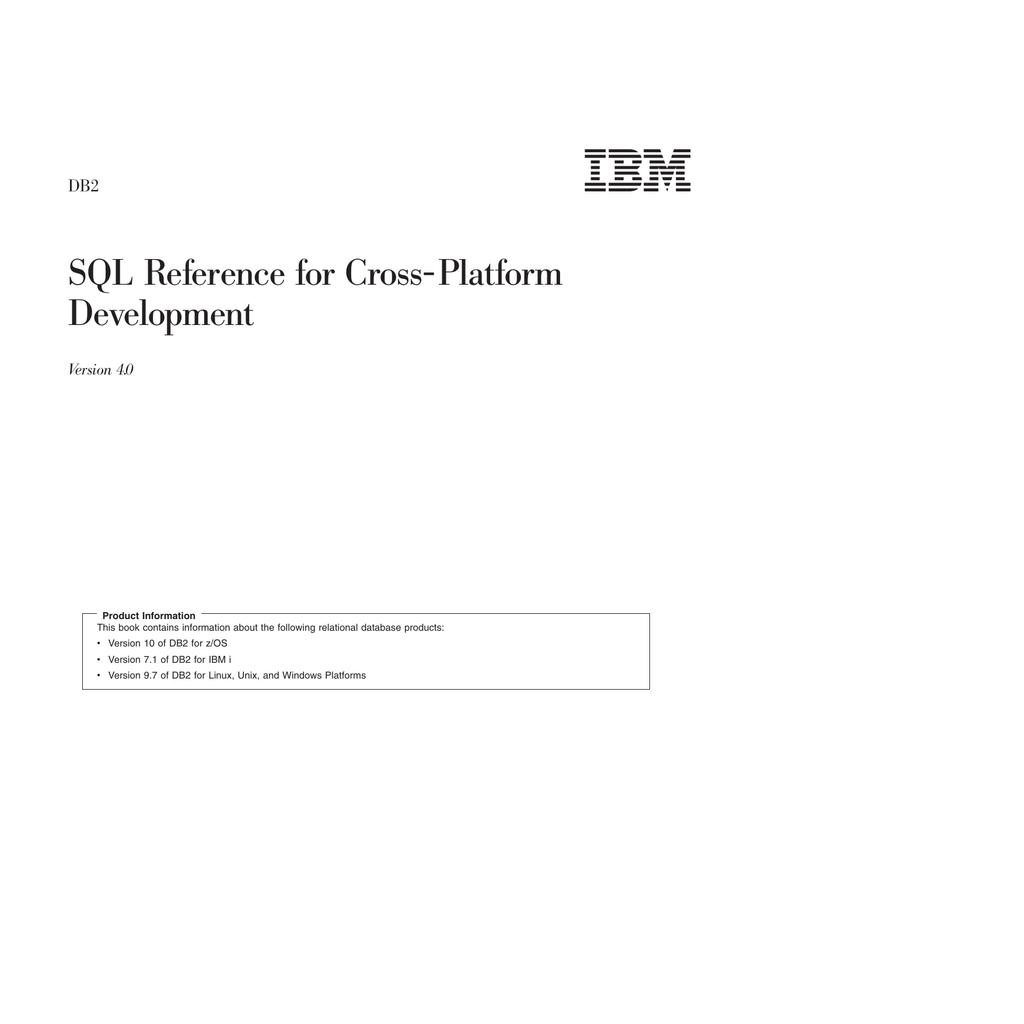 IBM DB2 v10 for z/OS DB2 SQL Reference for Cross   manualzz com