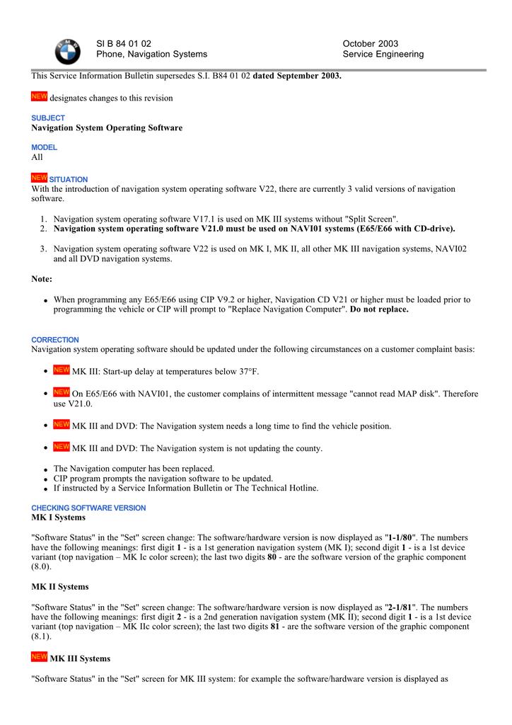 BMW service bulletin on navigation software | manualzz com