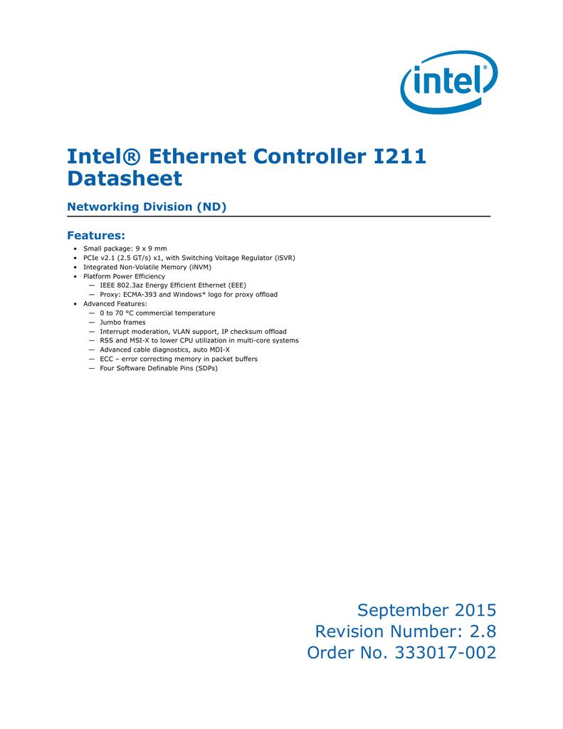 Intel® Ethernet Controller I211 Datasheet Networking