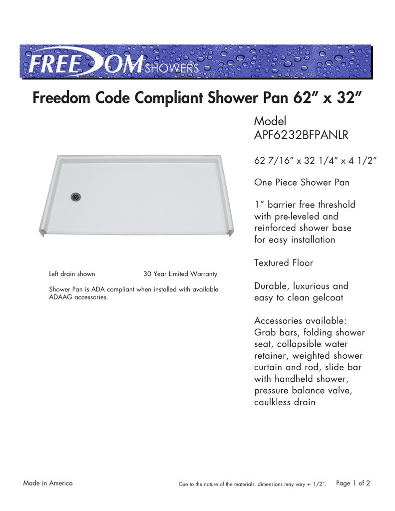 Ada Shower Pan Information Manualzz Com