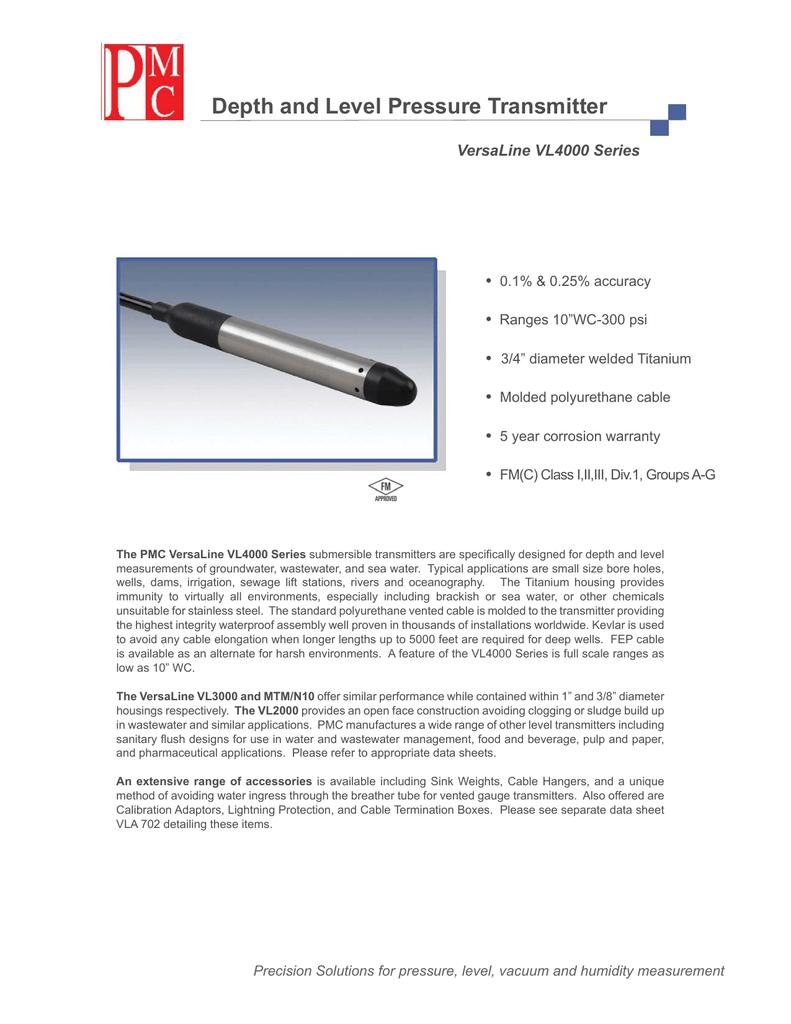 PMC VL4000 Submersible Pressure Sensor | manualzz com