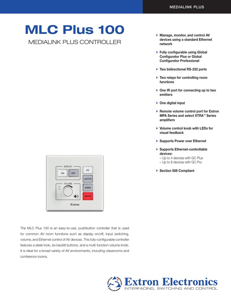 Driver: Extron MLC Plus 100 Ethernet Controller