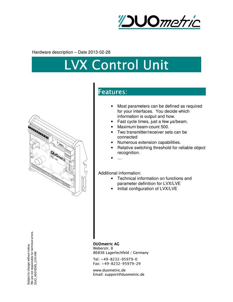 Lvx Controller For Li Light Curtain Receiver Pnp Output Wiring Diagram Emitter M12