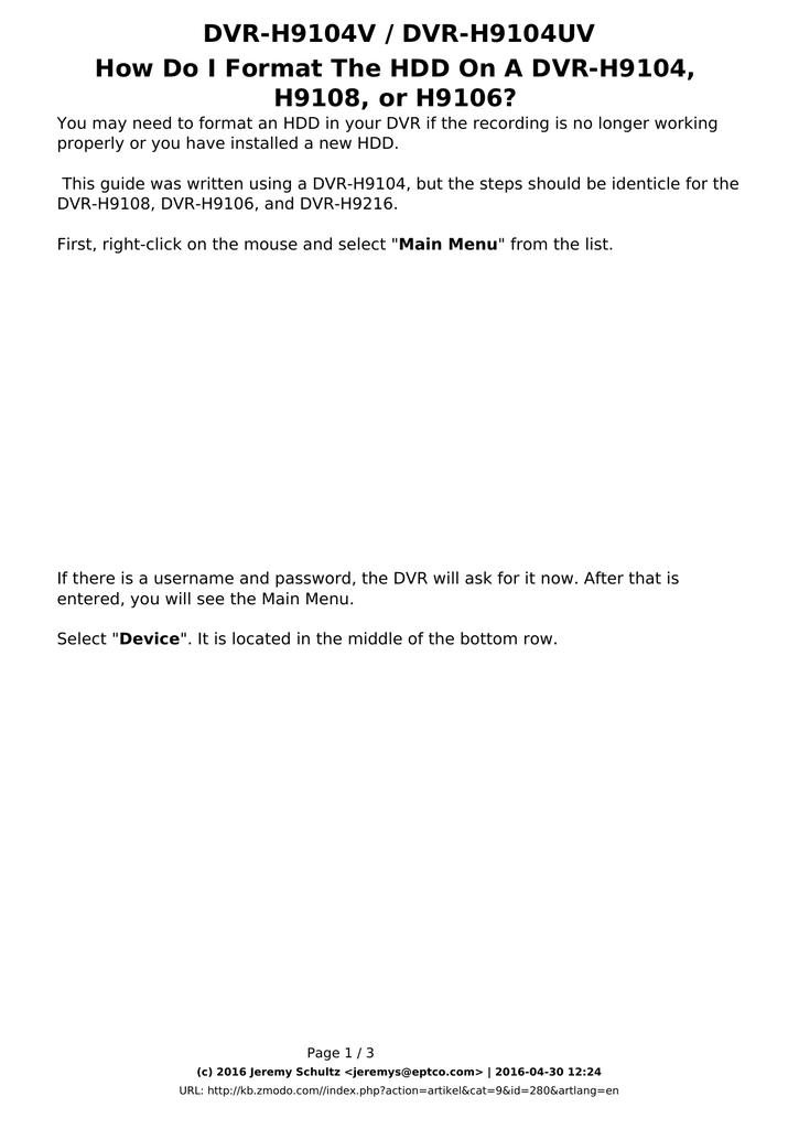 DVR-H9104V / DVR-H9104UV H9108, or H9106? | manualzz com