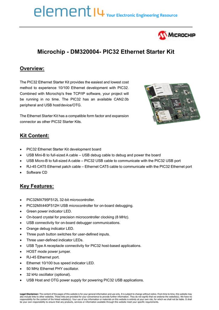 Microchip - DM320004- PIC32 Ethernet Starter Kit Overview