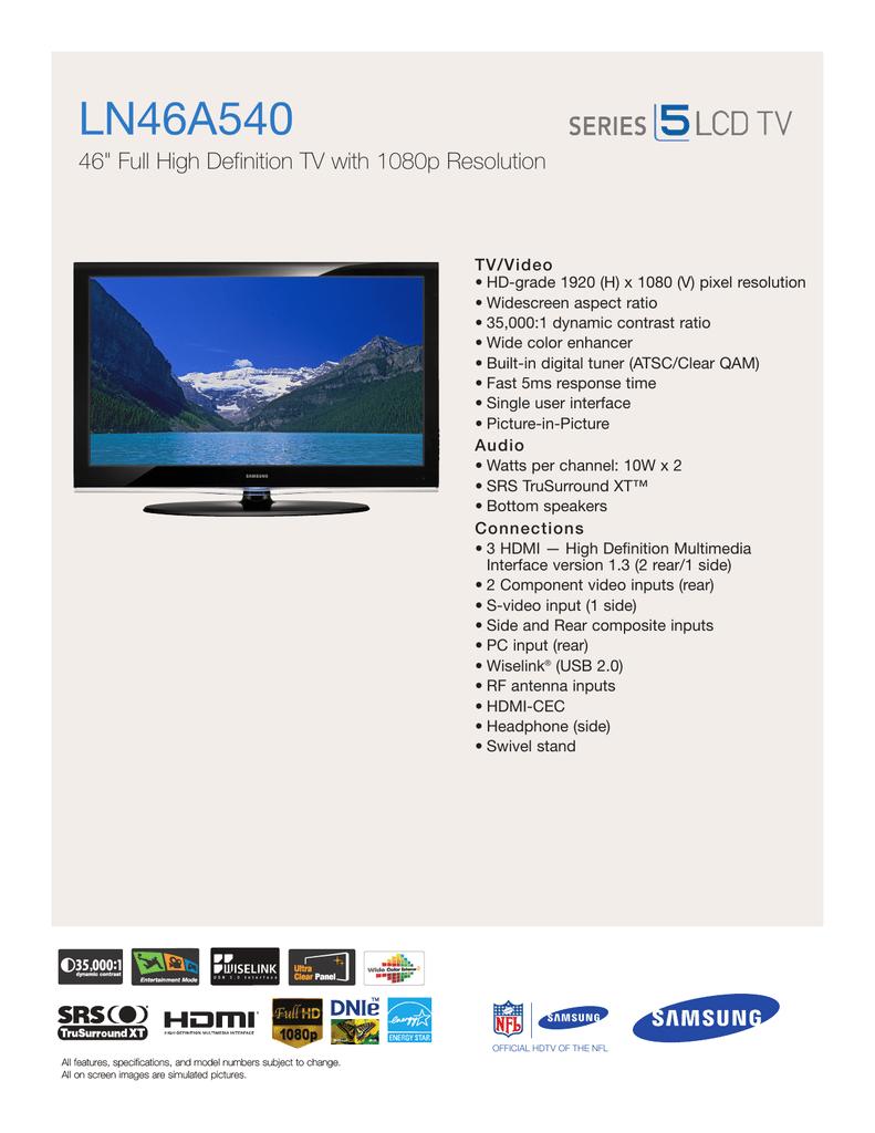 Samsung LN46A540 Product Sheet | manualzz com