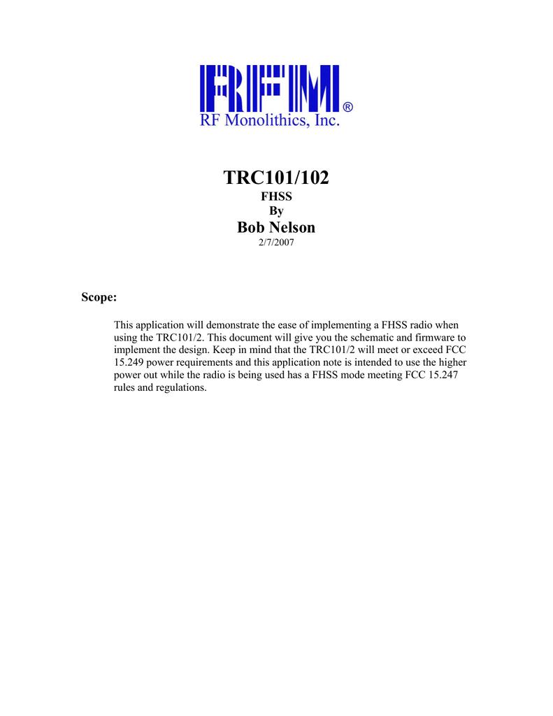 TRC101-102 FHSS | manualzz com