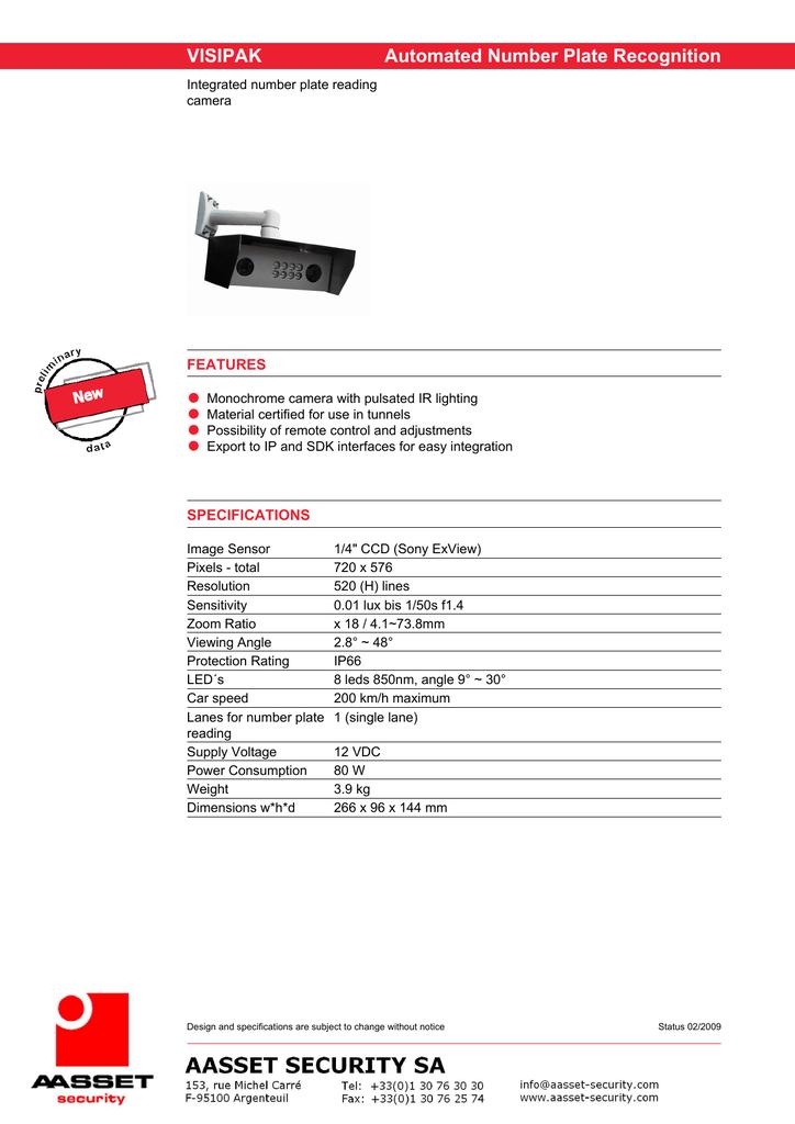 AASSET VISIPAK ANPR IP cameras datasheet | manualzz com