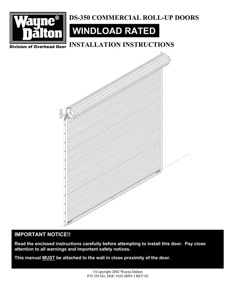 Rollup Sheet Door Ds350 Installation Manualzz