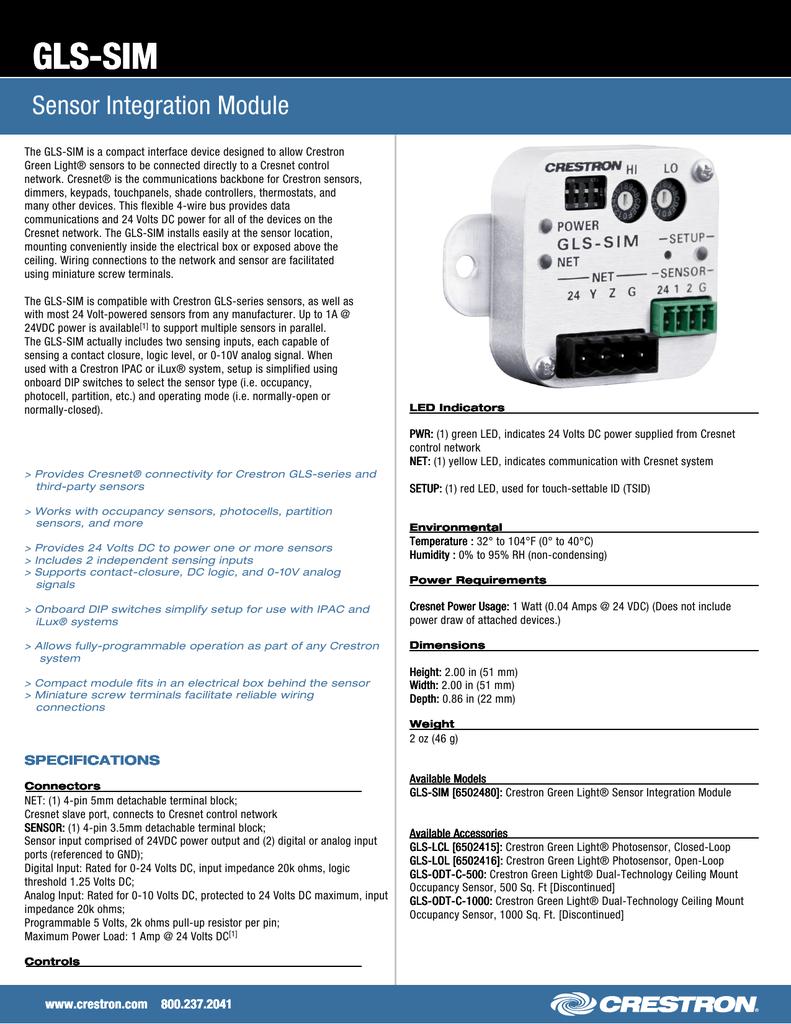 GLS-SIM Sensor Integration Module | manualzz com