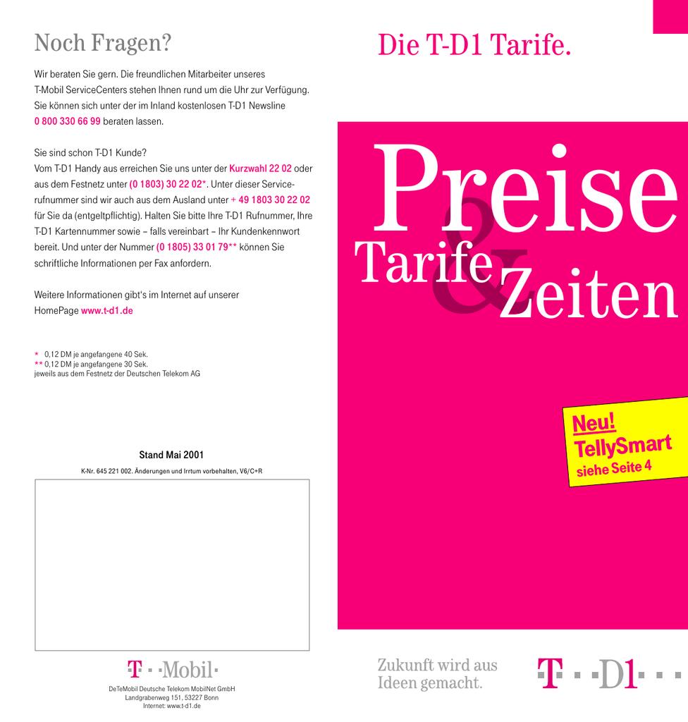 Weitere Informationen Zum Thema Preisliste T Mobile T D1 Manualzzcom