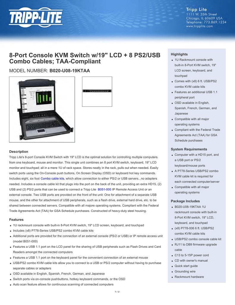 8-port console kvm switch w/19