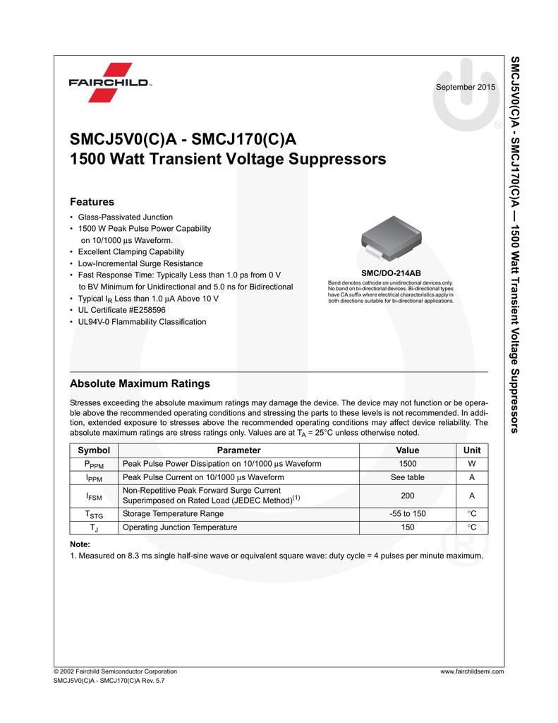 TVS Diodes Transient Voltage Suppressors 150V 400 Watts 50 pieces