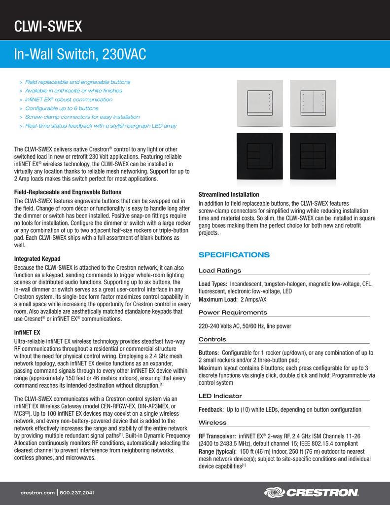 CLWI-SWEX In-Wall Switch, 230VAC | manualzz.com