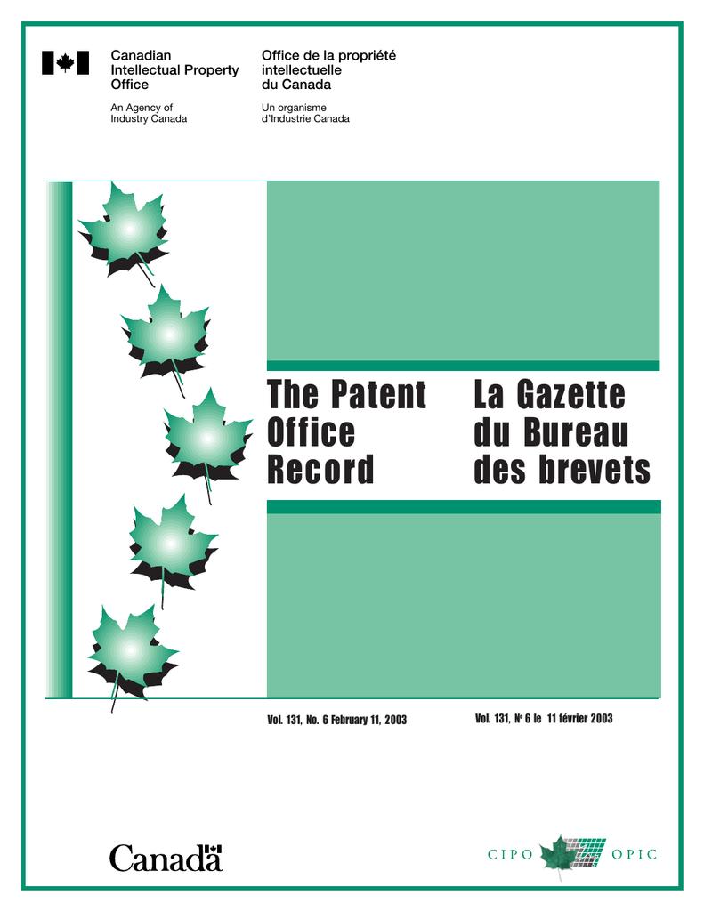La Gazette The Patent du Bureau Office | manualzz com