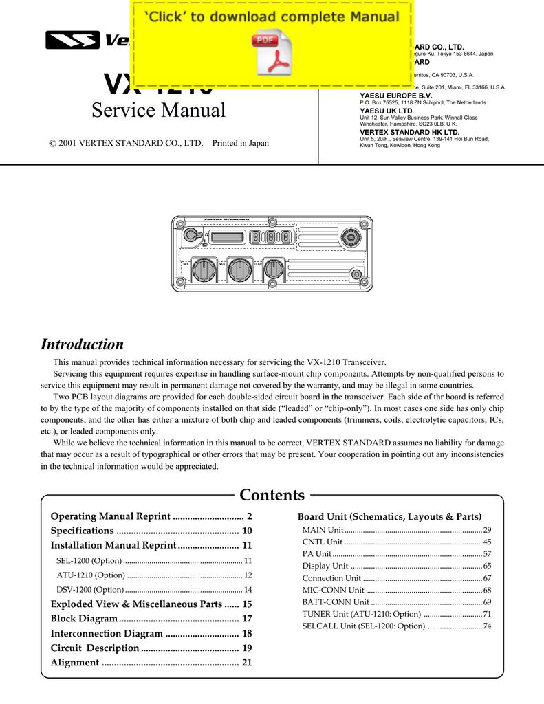 10 Wiring Diagram Yaesu Pa Library Signalink Usb Vx 1210 Service Manual Pages