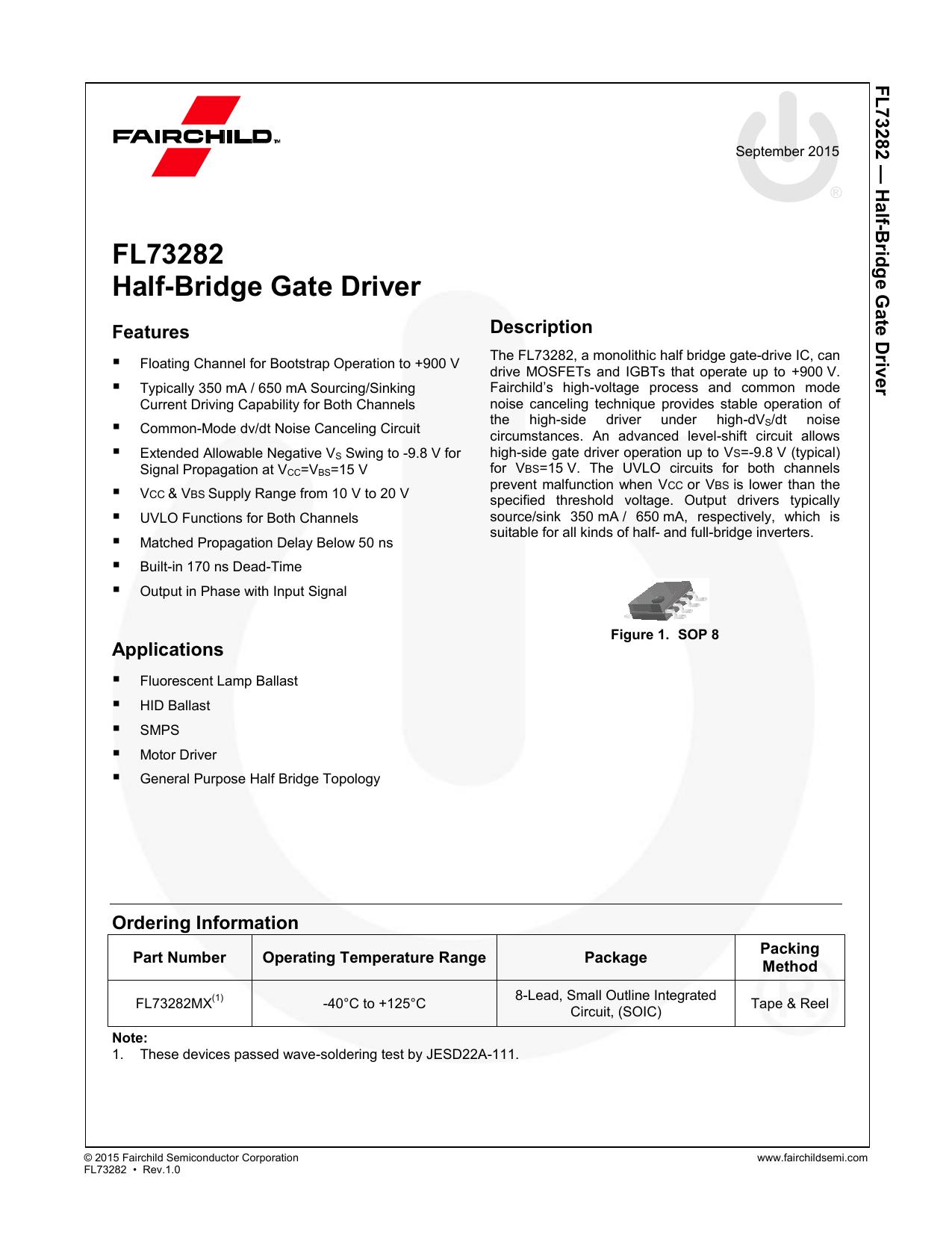 Fl73282 Half Bridge Gate Driver F Small Outline Integrated Circuit