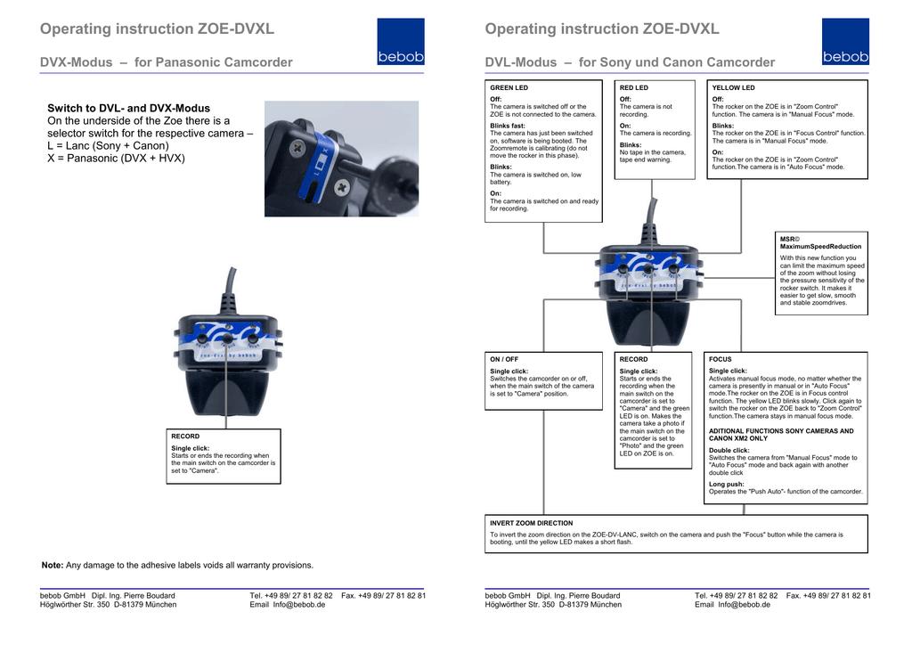 Fiche de présentation du ZOE-DVXL | manualzz com