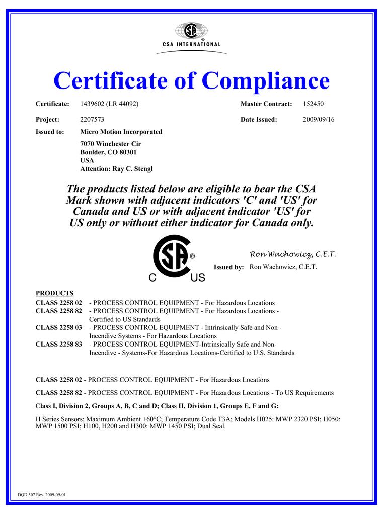 CSA Certificate H Sensor   manualzz com