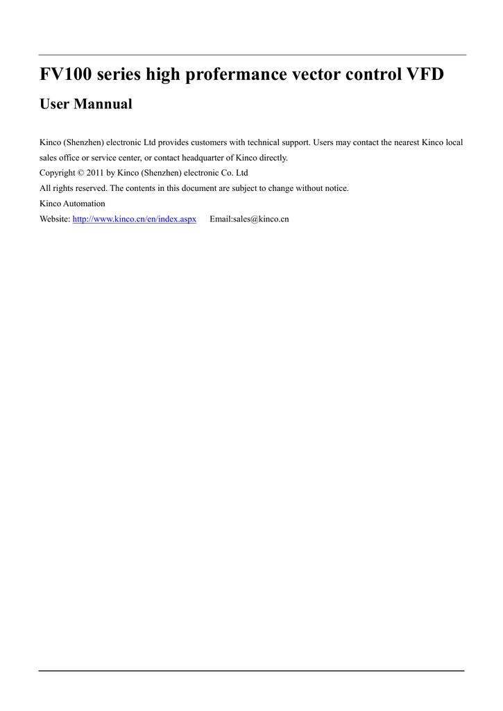 Kinco FV100 VFD User Manual   manualzz com
