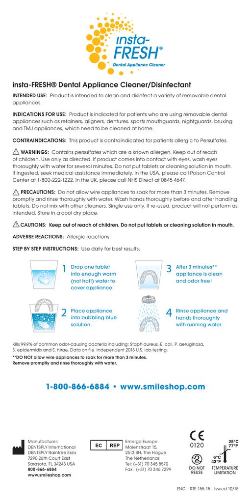 Insta Fresh Dental Appliance Cleaner Manualzz