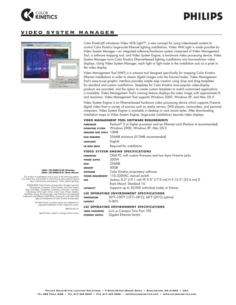Video System Manager Data Sheet Manualzz