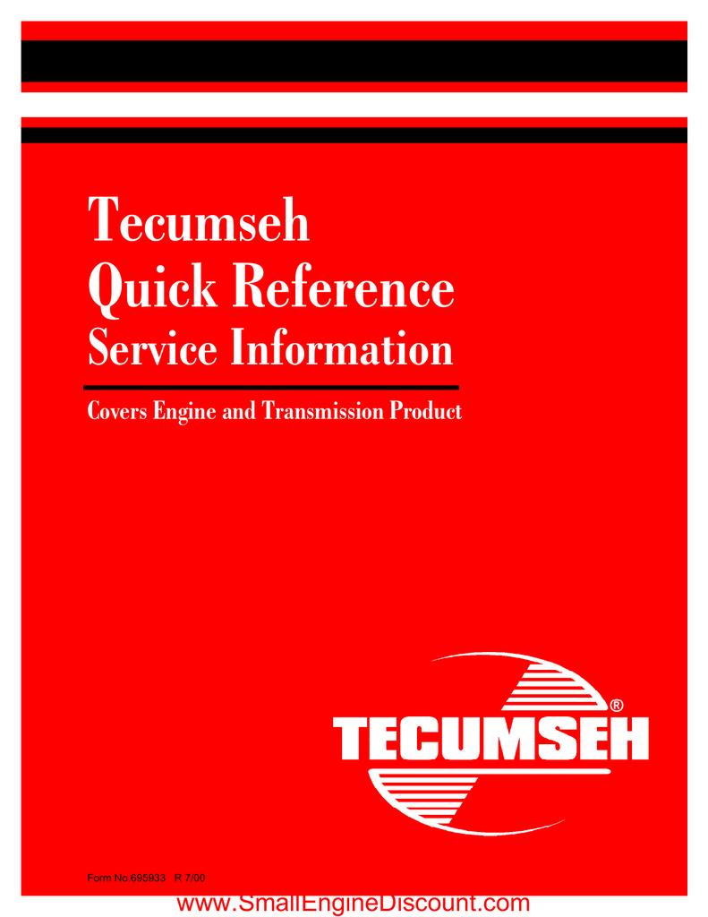 Tecumseh Quick Refernce Service Info Manualzz