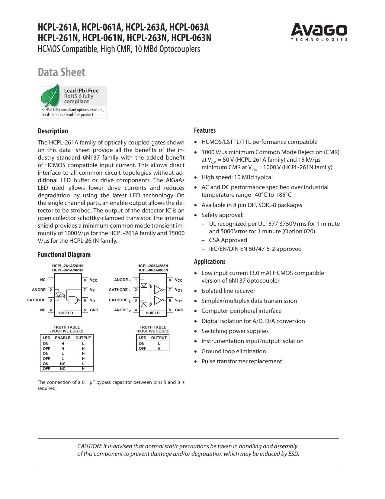3750VRMS LOGIC GATE 1 piece AVAGO TECHNOLOGIES HCPL-2630-000E OPTOCOUPLER