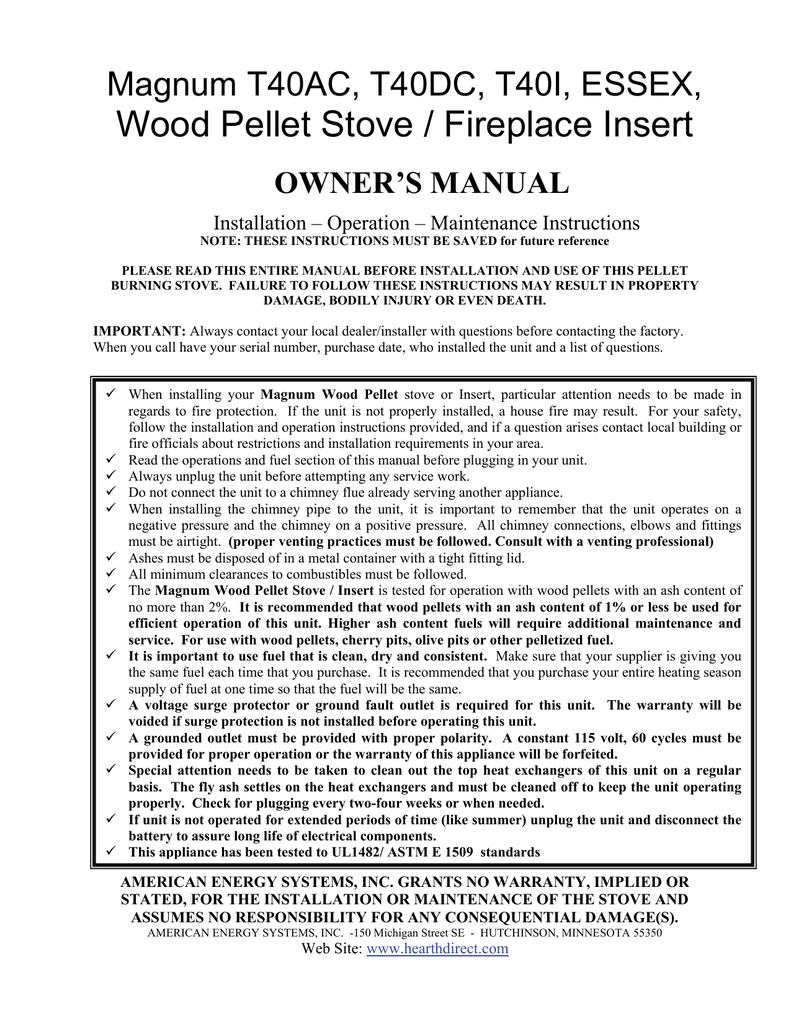 Magnum T40 Operation Installation Manual Wiring Diagram