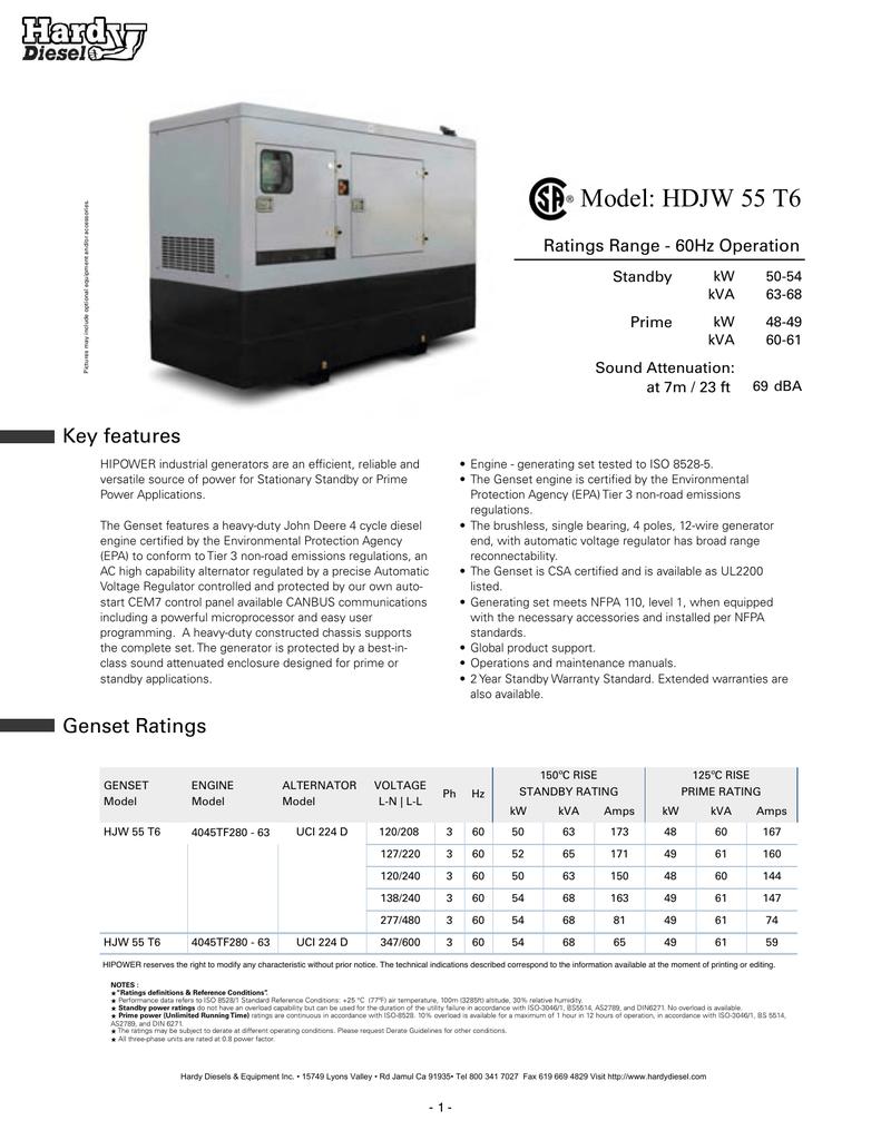 hardy diesel powered by john deere 55 kw generator spec sheet rh manualzz com Operations and Maintenance Plan Template Operations and Maintenance Plan Template