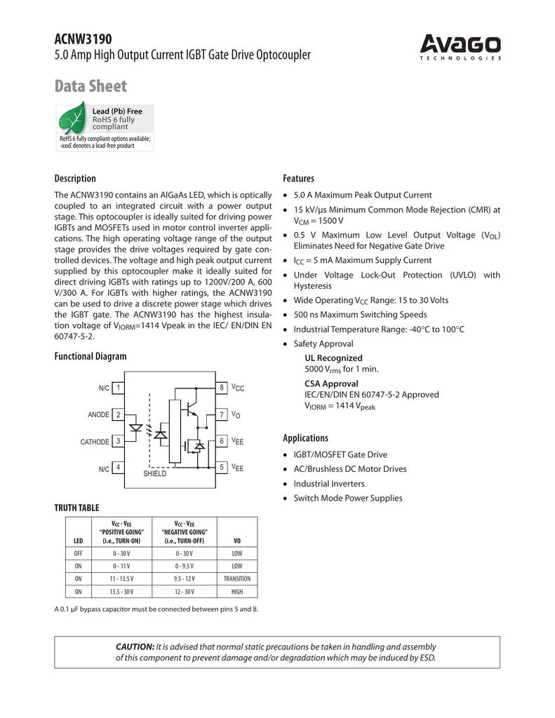 Data Sheet ACNW3190 5 0 Amp High Output Current IGBT Gate Drive