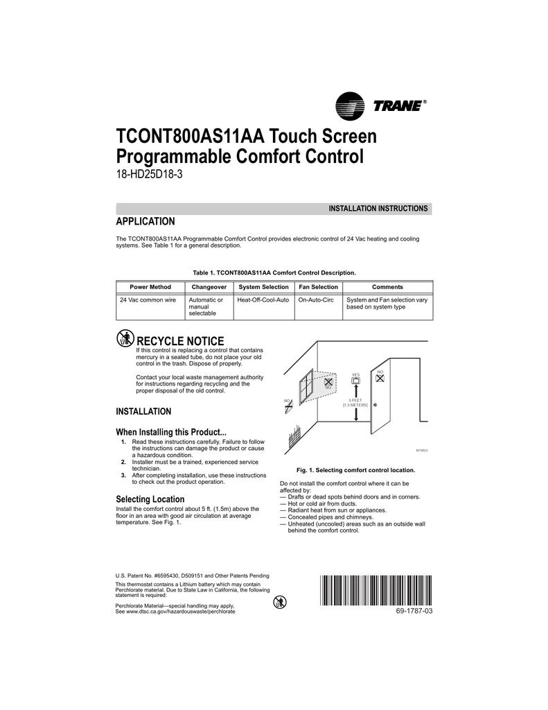 Trane TCONT800 Thermostat Installation Manual | manualzz.com
