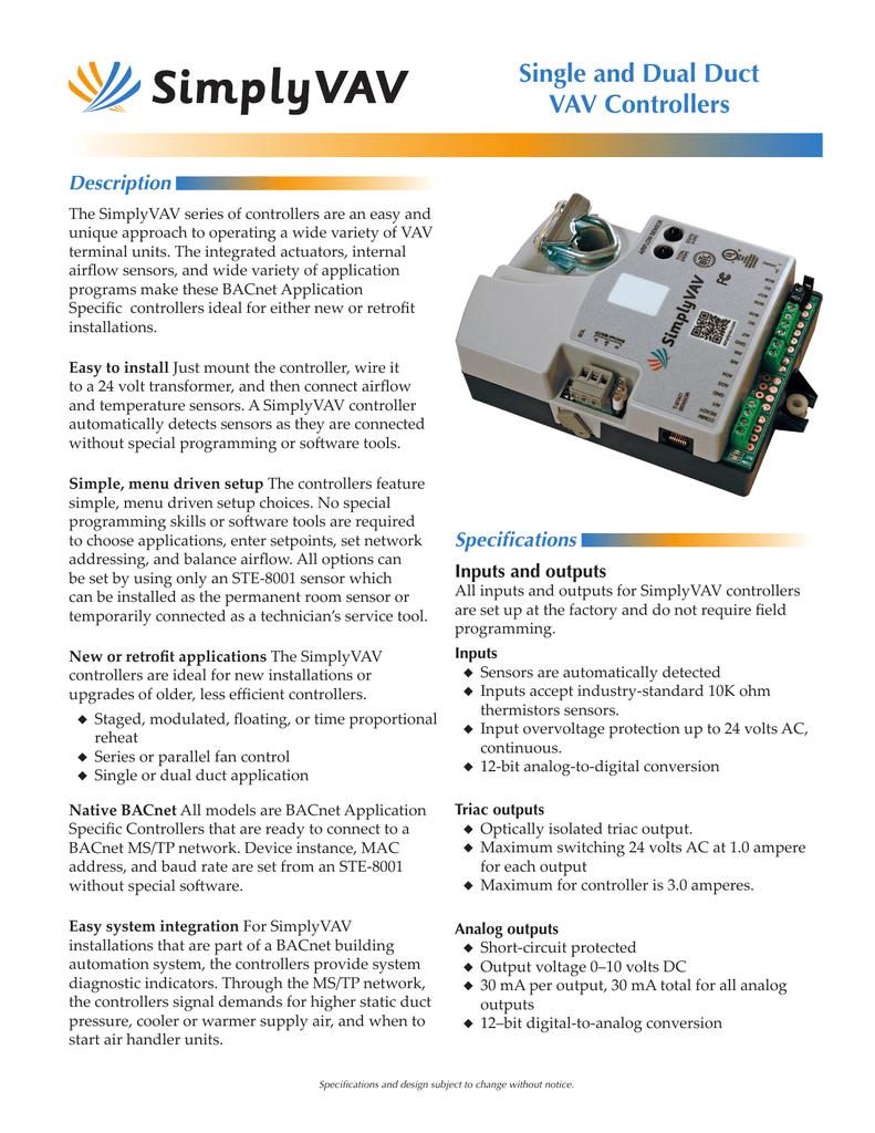 Single and Dual Duct VAV Controllers Description | manualzz com