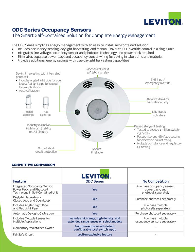 LV-O3C15-IDW Leviton ODC PIR Ceiling-Mount Vacancy Sensor, 1,500 Sq. Ft.  Sensors | Manualzzmanualzz