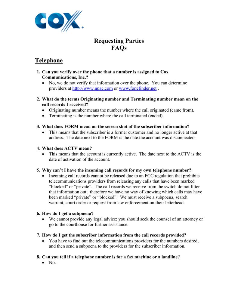 Requesting Parties FAQs Telephone   manualzz com
