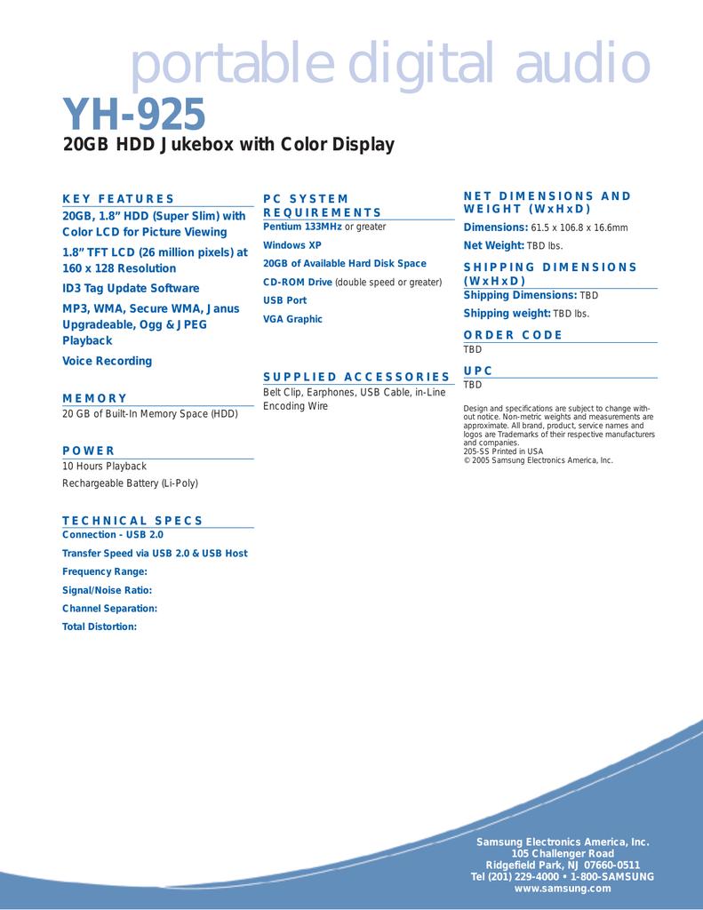 Samsung yepp YP-925GS Data Sheet | manualzz com