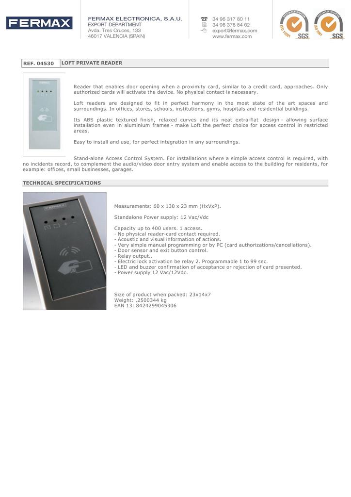 fermax data sheet for art 4530  manualzz