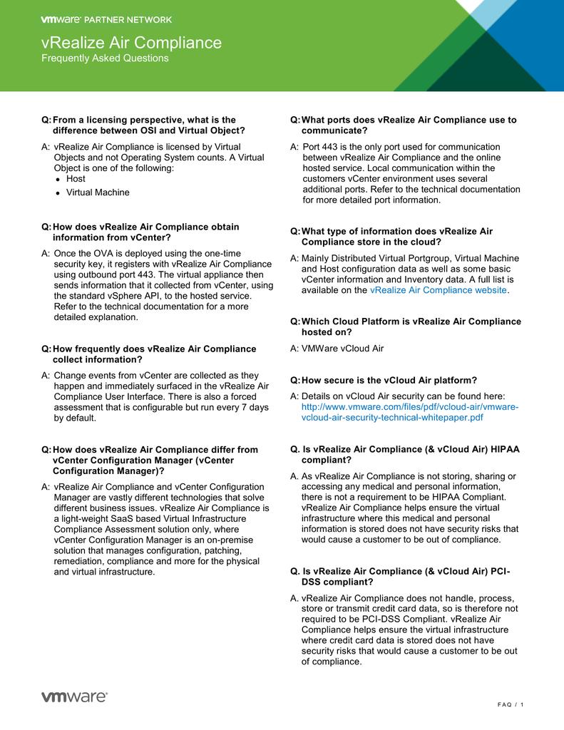 vRealize Air Compliance FAQs PDF | manualzz com