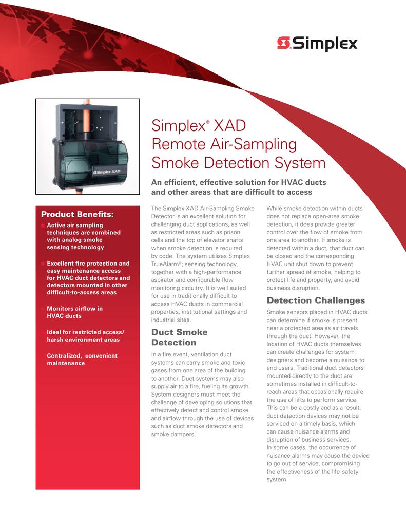 Simplex Xad Remote Air Sampling Smoke Detection System Sell Sheet Duct Detector Wiring Diagram English