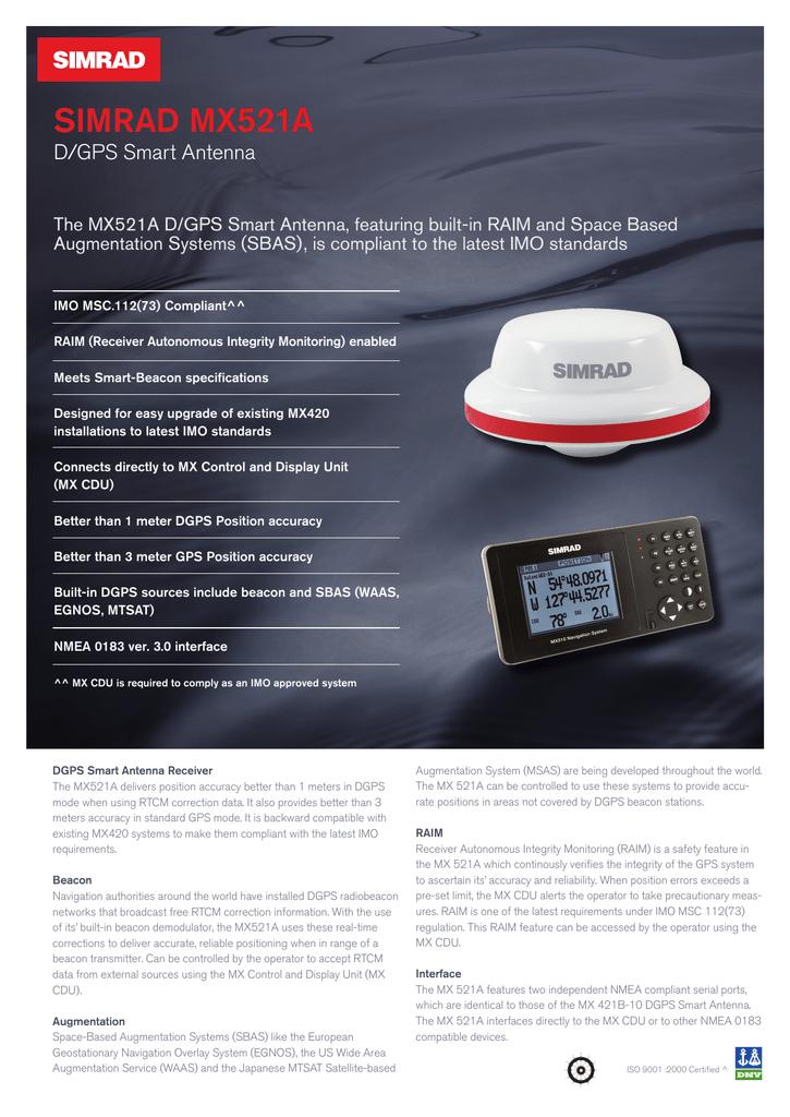 SIMRAD MX521A DGPS product sheet | manualzz com