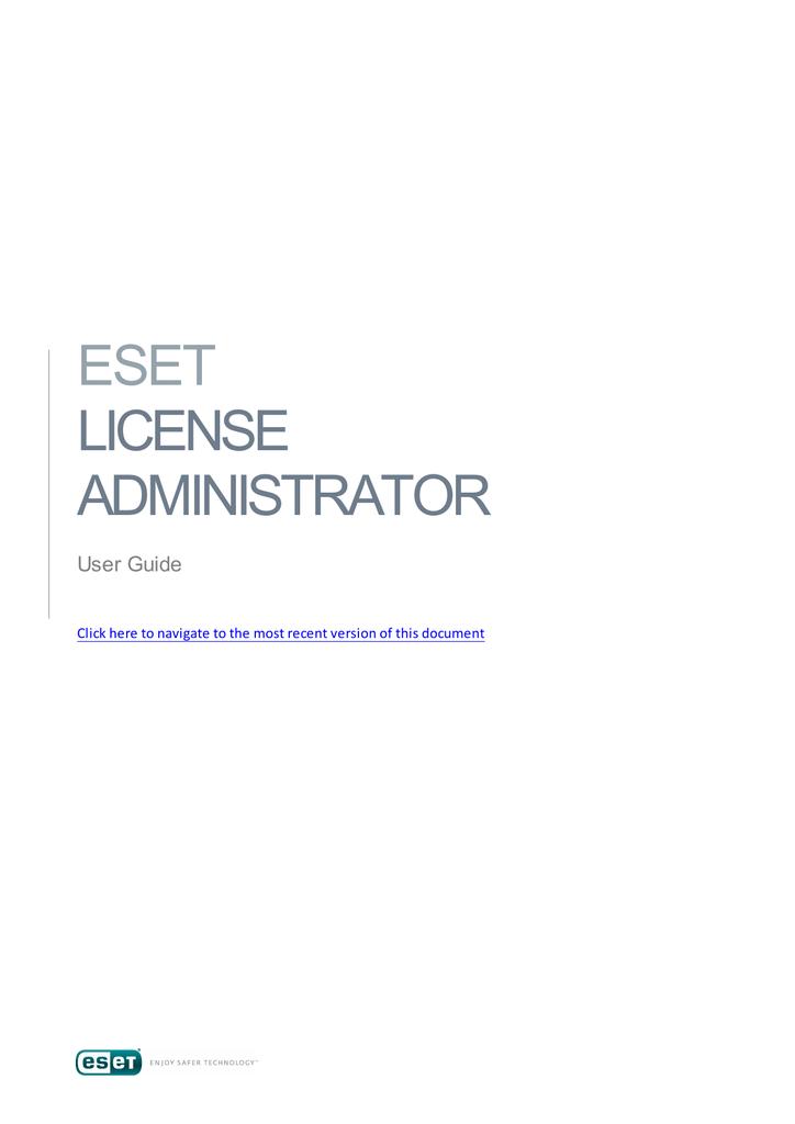 ESET License Administrator User Guide | manualzz com
