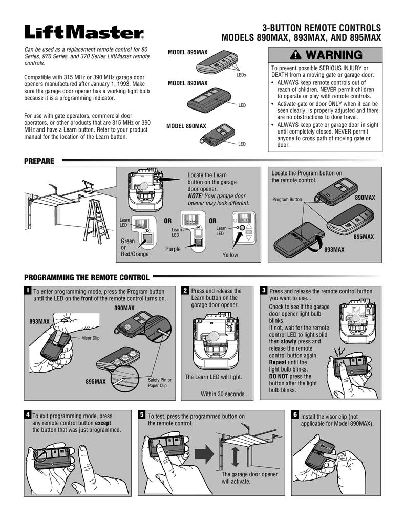 Liftmaster 890max Programming Instructions Click Here Manualzz
