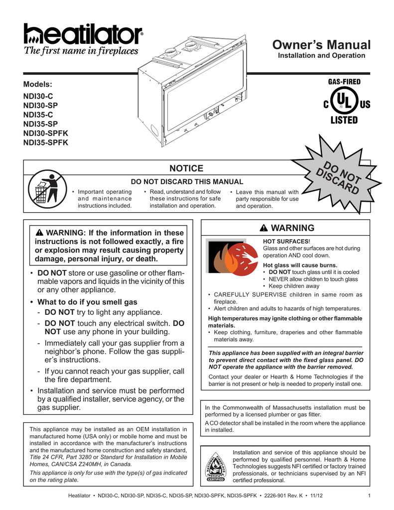 Heatilator Ndi30 Ndi35 Install Manual Manualzz