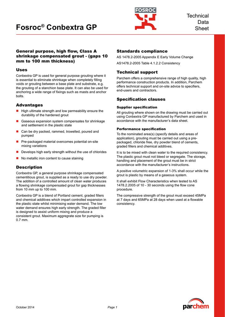 Fosroc Conbextra GP TDS | manualzz com