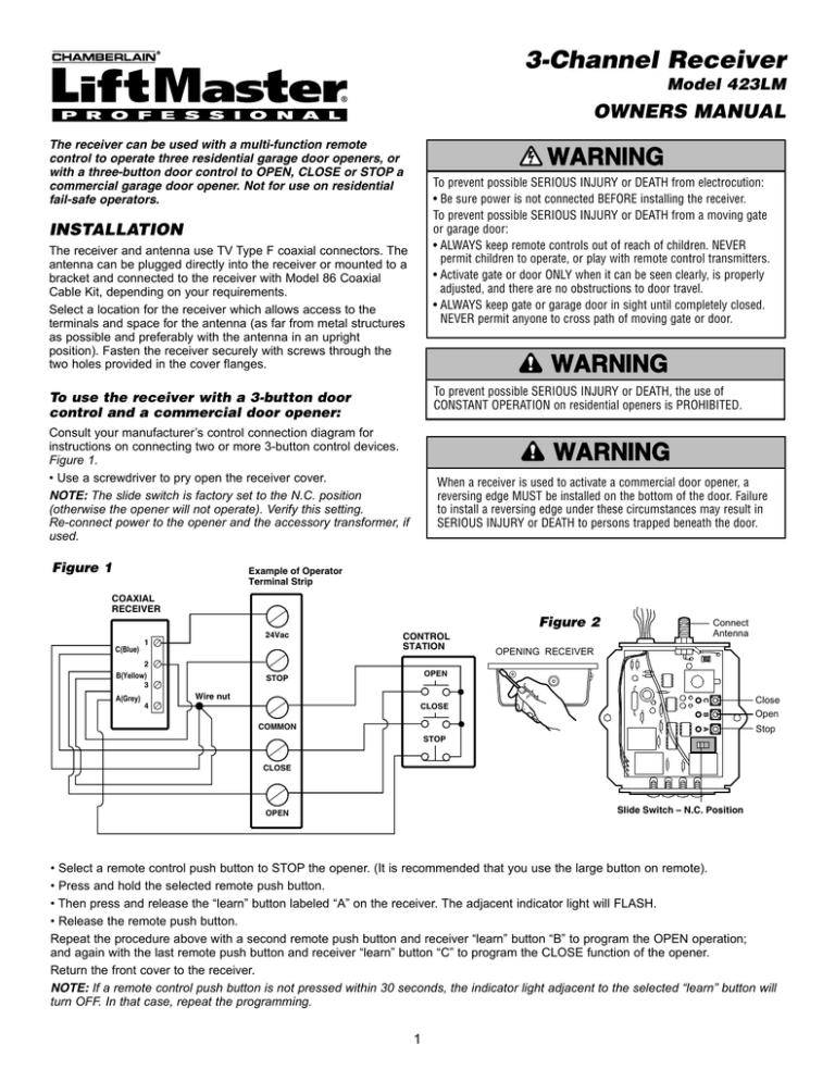 3-Channel Receiver WARNING OWNERS MANUAL Model 423LM | ManualzzManualzz