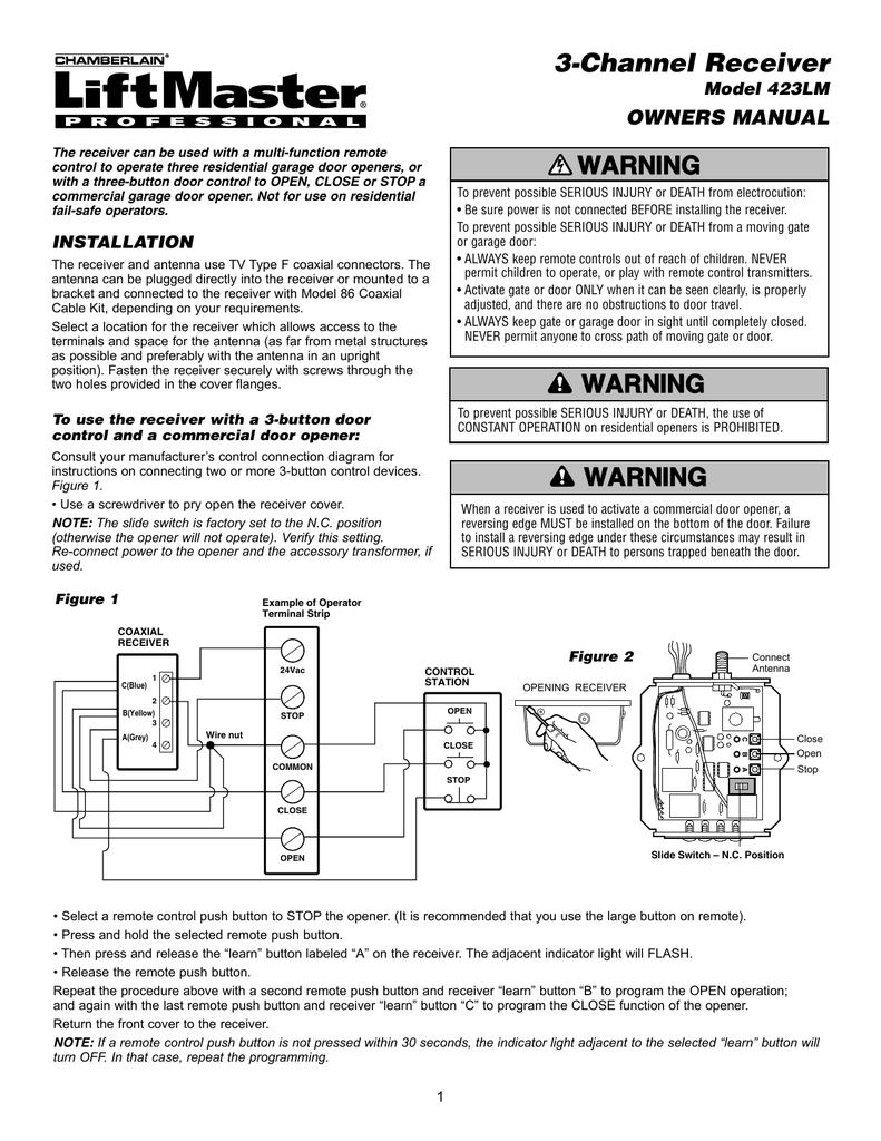 3 channel receiver warning owners manual model 423lm Chamberlain Garage Door Opener Wiring Diagram Part 423lm chamberlain liftmaster wiring diagram