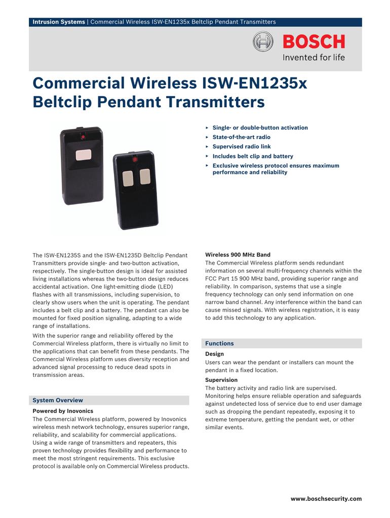 ISW-EN1235 Pendant Panic Spec Sheet | manualzz com