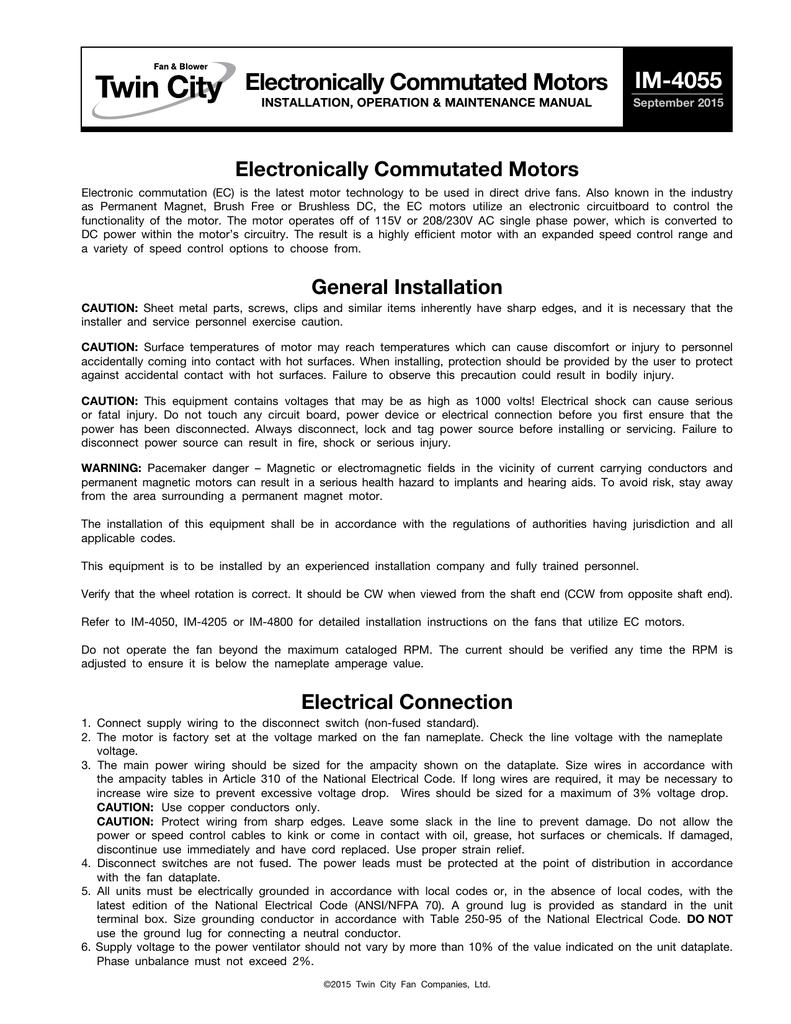 Electronically Commutated Motors - IM-4055 | manualzz com