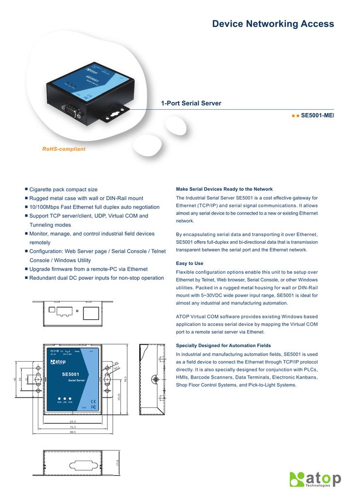 Device Networking Access 1-Port Serial Server I   manualzz com